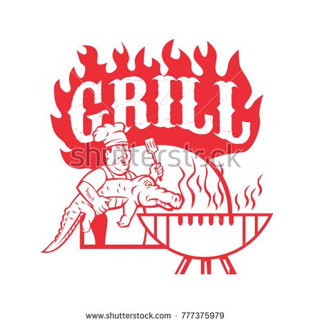 Retro style illustration of a bbq chef carrying a gator to  barbecue grill with words Grill on isolated background.  #grill #retro #illustration