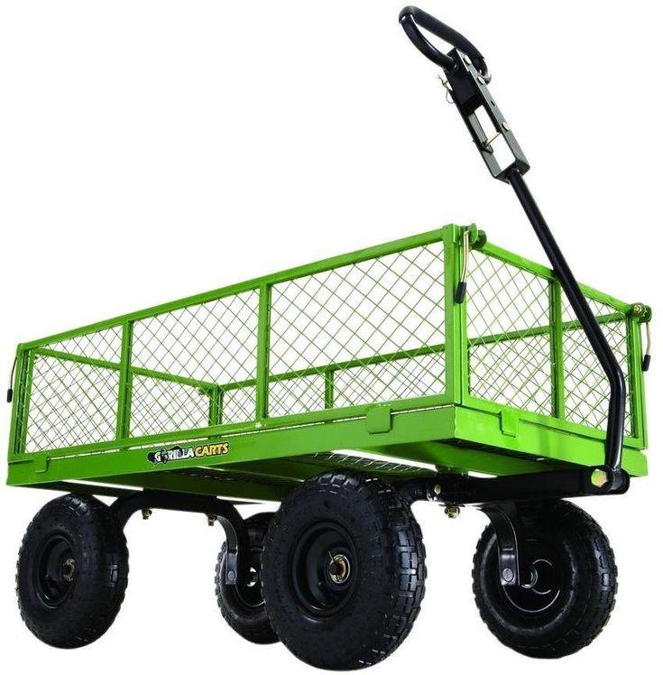 Wonderful Gorilla Heavy Duty 800 Lb. Capacity Steel Garden Yard Towable Utility Wagon  Cart