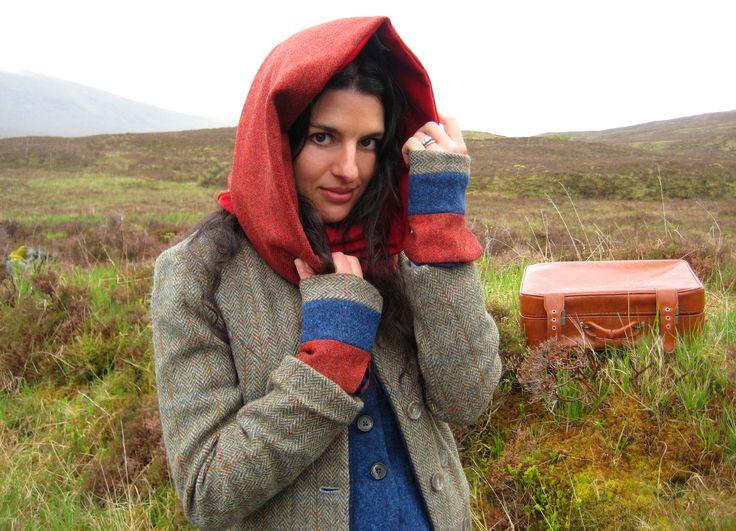 Snood and Mittens.  Tweed and velvet lined. Handmade in the Scottish Highlands. www.lornagillies.com Atmospheric, haunting, dreamer inspiration. Outlander. Scotland. Highlands. Glencoe