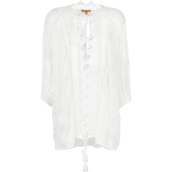 Ermanno Scervino Embroidered Beach Cover-up (2.355 BRL) ❤ liked on Polyvore featuring swimwear, cover-ups, swim cover up, cover up swimwear, white cover up swimwear, beach cover up and embroidered cover up