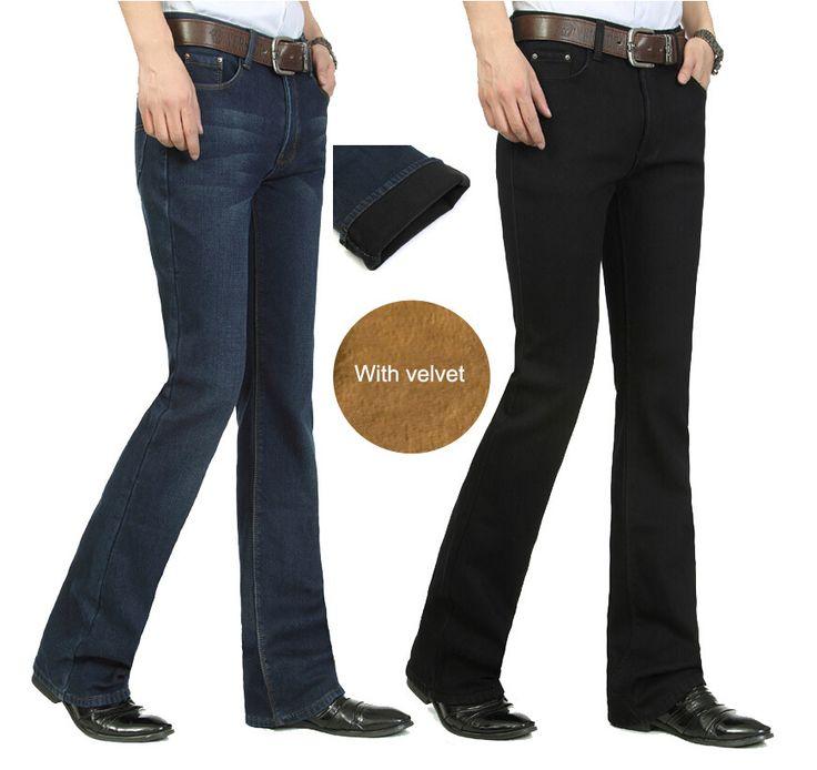 Дешевое Мода зима теплая утолщаются мужские бархат джинсы узкие мужские вспыхнул джинсы мужские джинсы клеш P035, Купить Качество Джинсы непосредственно из китайских фирмах-поставщиках:     Мода зима теплая сгущаться мужские бархатные джинсы тощий мужские расклешенные джинсы мужские Белл снизу джинсы