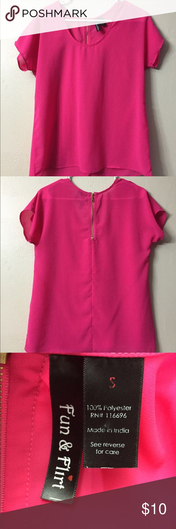 Pink Short Sleeve Top Pink short sleeve top from Fun & Flirt.  Lightweight and dressy material.  Could be used as the main piece or for layering.  Size small. Tops Blouses