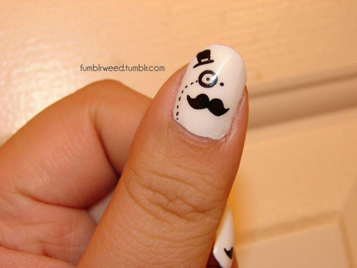 mustache, monocle and top hat nail art