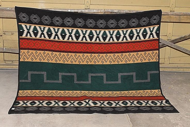 Vtg. Pendleton Wool Geometric southwestern print Blanket 65 by 69 inches. #Pendleton
