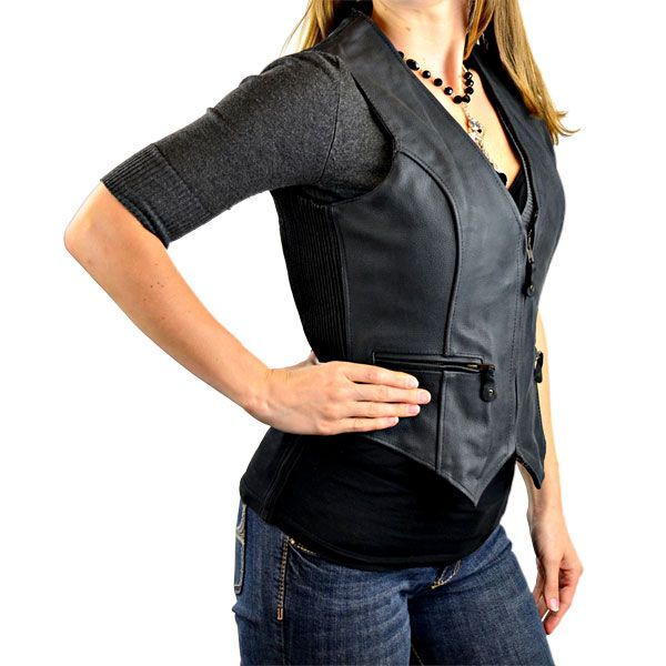 women's leather vest | Motorcycle Leather Vest for Women LV753