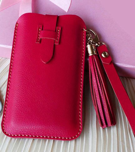 Handmade Genuine Leather Phone case in Red
