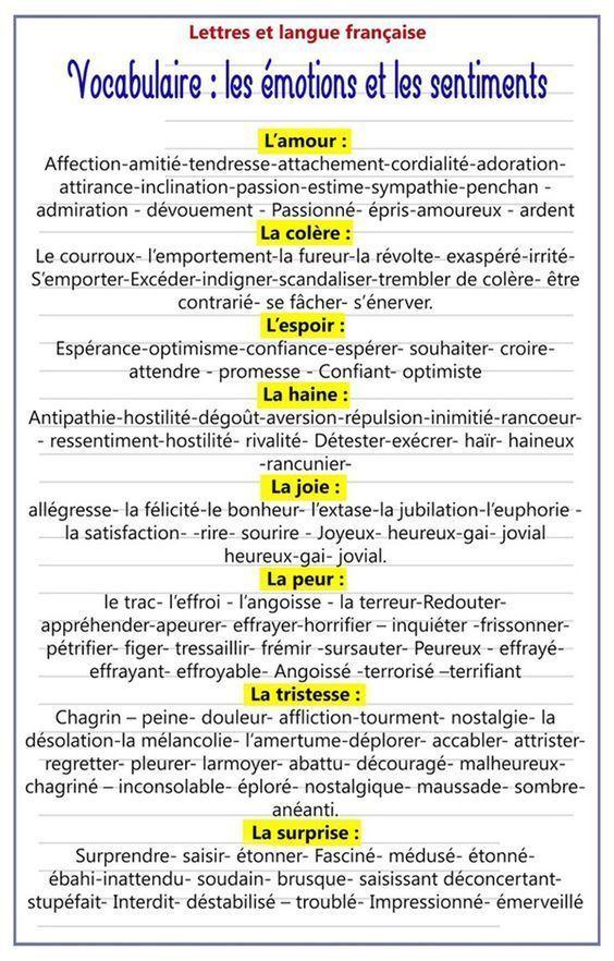 Vocabulaire: les émotions et les sentiments   Vocabulaire ...