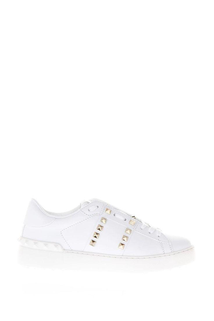VALENTINO GARAVANI | Valentino Garavani Valentino Garavani Rockstud Untitled White Leather Sneakers #Shoes #Sneakers #VALENTINO GARAVANI
