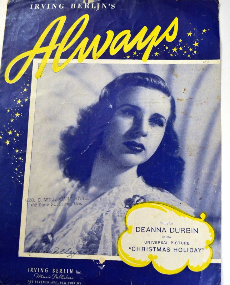 Vintage Irving Berlin's Always Sheet Music Deanna Durbin 1940's Music by misseileen on Etsy