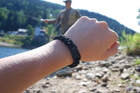 Black Handmade Survival Bracelet