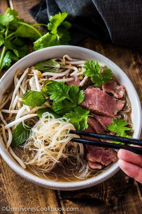 Easy Vietnamese pho noodle soup - Want to get a hearty bowl of Vietnamese pho noodle soup on the table within 30 minutes? Look no further! | omnivorescookbook.com