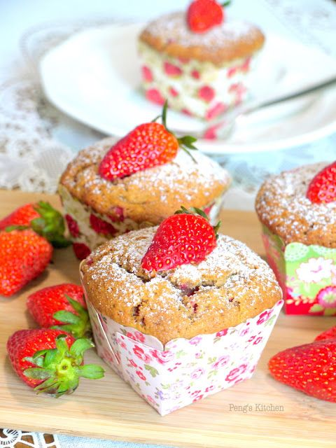 Strawberry & Cream Cheese Muffins #recipes #food #drink #cuisine #boissons #recettes