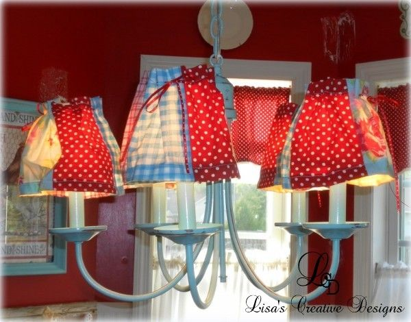 Red and Aqua Cottage Style Upcycled Chandelier #Upcycling