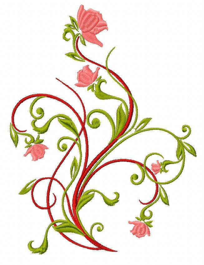 Winding Rose Embroidery Design Free Designs With Purchase Floral