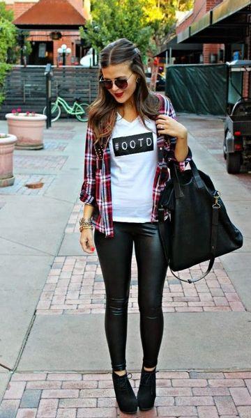 Look: Camisa Xadrez + Couro
