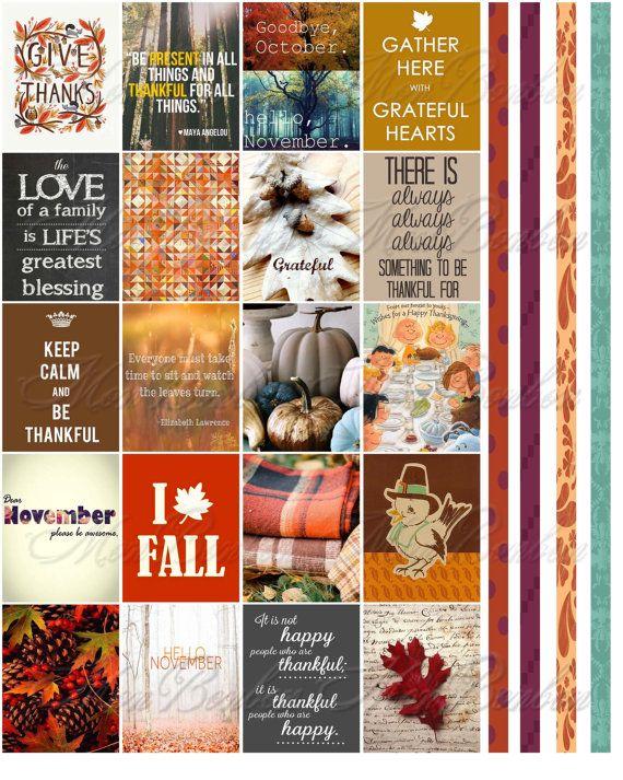 November Monthly Planner Sticker Printable Download - Journal Stickers - Life Planner Thanksgiving Quotes - fits Erin Condren Planner - ECLP