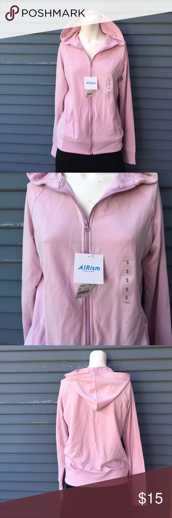 NWT- BRAND NEW light pink zip up hoodie by Airism NWT- BRAND NEW light pink zip up hoodie by Airism in size small airism Sweaters