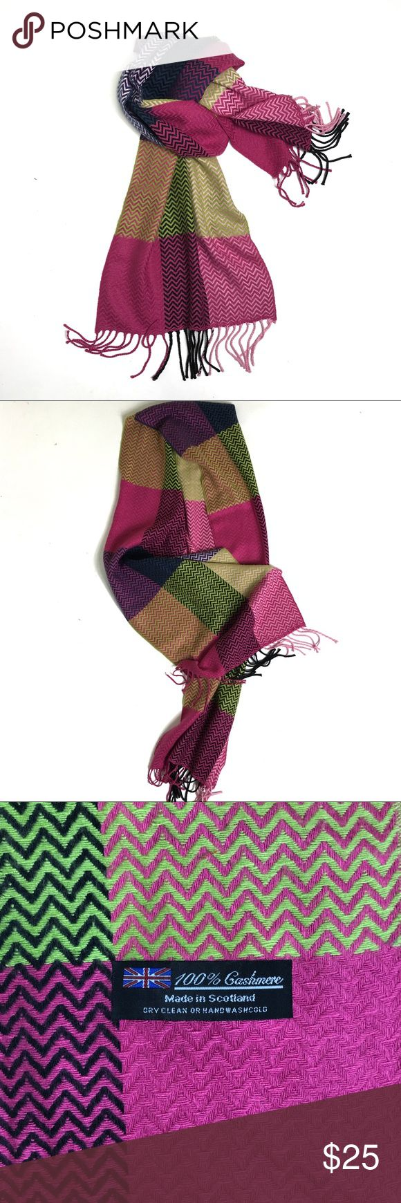 "Nordstrom Scottish Cashmere Plaid Scarf Excellent condition fringed cashmere scarf purchased at Nordstrom. Super soft with bright, vibrant colors. Goes with so many things. 100% cashmere. Made in Scotland. 13""w x 70""l Nordstrom Accessories Scarves & Wraps"