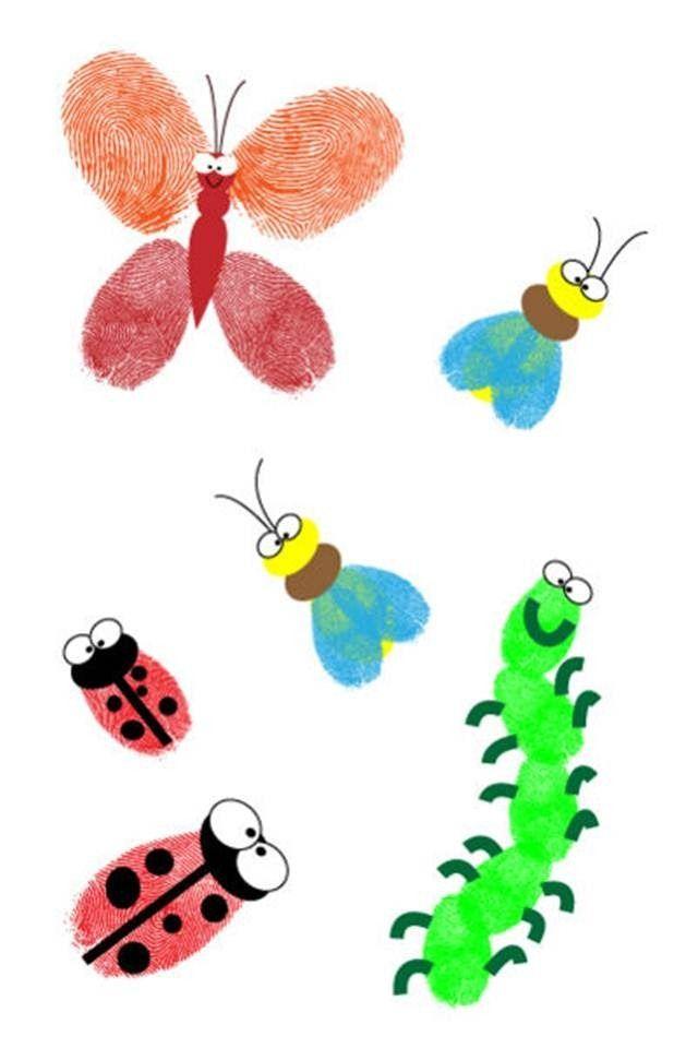 Crafts Using Kids Fingerprints And Paint