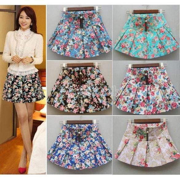 Women Ladies Girls' Summer Pleated Floral Skirts Mini Skirts
