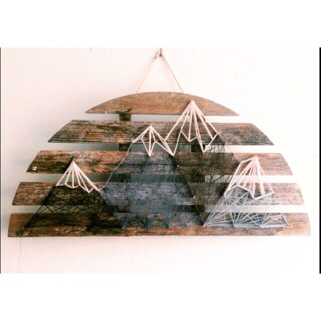 Mountain scene string art