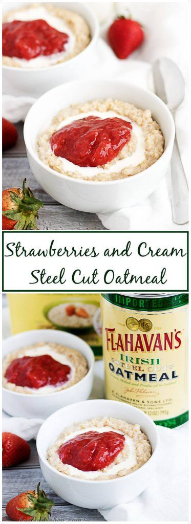Our strawberries and cream steel cut oatmeal recipe is a simple, yet delicious combination of steel cut oats and sweet strawberry jam. via @berlyskitchen