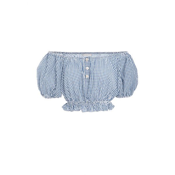 Caroline Constas Bardot Ruffle Crop Top ($320) via Polyvore featuring tops, blue, off shoulder crop top, blue crop top, off-the-shoulder ruffle tops, white off the shoulder top and off the shoulder crop top