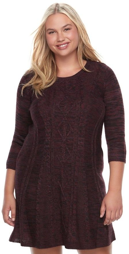Cloud Chaser Juniors' Plus Size Cloud Chaser Marled Sweater Dress