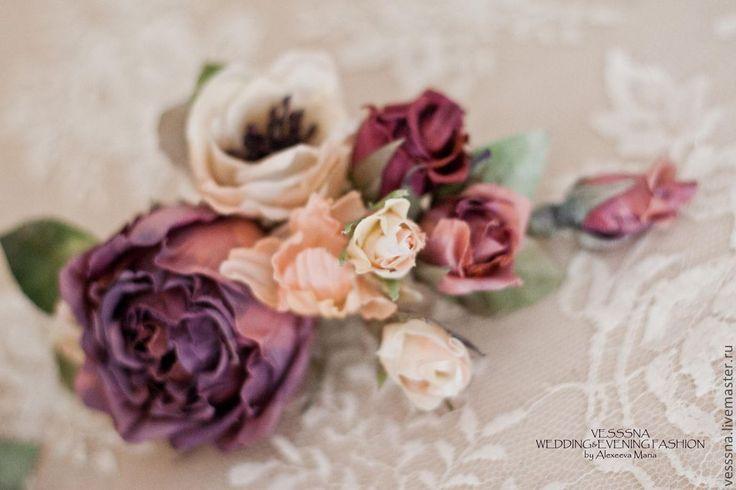 """Купить Ветка шелковых цветов """"Винтаж"""", свадебные украшения. - брусничный, фиолетовый, айвори, свадебное украшение"""