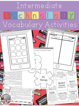 Technology Vocabulary worksheets, printables, foldable activities, and online research practice. This file has 11 technology vocabulary activities that can be done with any vocabulary list. $