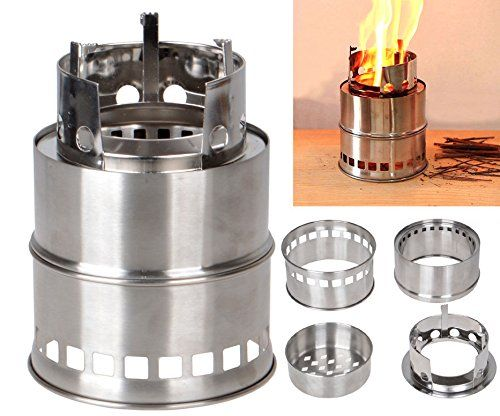 CUTEDONKEY Camping Stove/ Backpacking Stove - Potable Stainless Steel Wood Burning Stove Picnic BBQ Camping >>> Check out @ http://www.amazon.com/gp/product/B016WCZ3MY/?tag=usefulcamp-20&pmn=280716050912