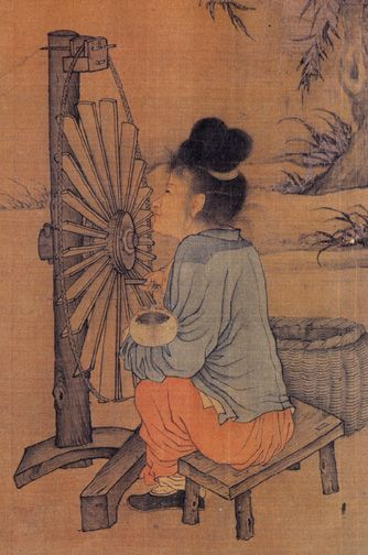 The Spinning Wheel, by Northern Song (960–1127) artist Wang Juzheng. The Chinese invented the belt drive by the 1st century BC for silk quilling. The mechanical belt drive, using a pulley machine, was first mentioned in the text the Dictionary of Local Expressions by the Han Dynasty author Yang Xiong (53–18 BC) in 15 BC, used for a quilling machine that wound silk fibers on to bobbins for weavers' shuttles. The belt drive is an essential component to the invention of the spinning wheel.