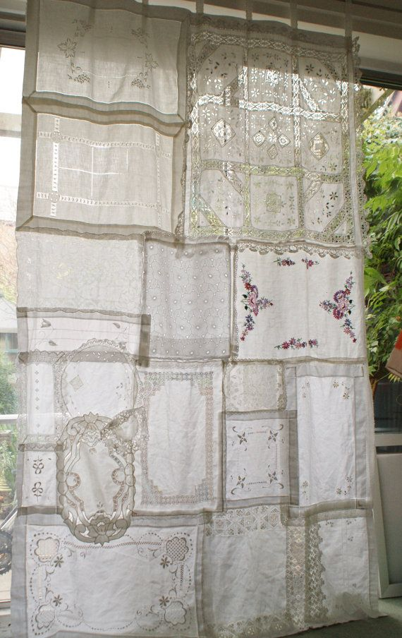 This one of a kind curtain is made completely from vintage fabrics bought from charity shops and antique shops, anything from tray mats to doilies to a table cloth.    It can be used gathered at the top or not. Used as a curtain for a window or door or a panel for a window or as decoration against a wall or to section off part of a room or garden.    Ideal for a backdrop at a wedding.    The colour of the fabrics are white but do vary due to wear over the years. One of the tea trays has…