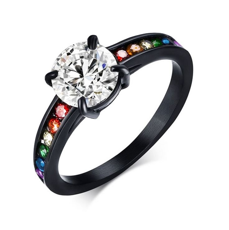 Details about Pride Shack- Dreamy Black Rainbow CZ Ring – Lesbian Engagement Ring Gay Pride