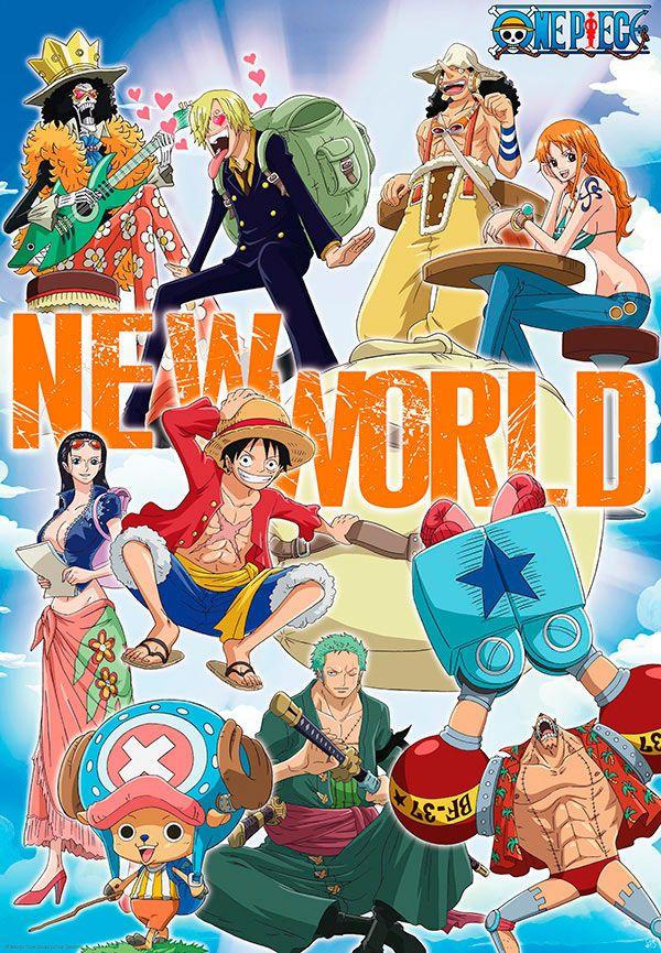 Póster New World Team 98 x 68 cm. One Piece Precioso póster con unas medidas de 98 x 68 cm fabricado en papel de calidad ligeramente plastificado con un gramaje de 170 gr/m2, un poco superior a la calidad de los pósters habituales de papel a los cuales estamos acostumbrados.