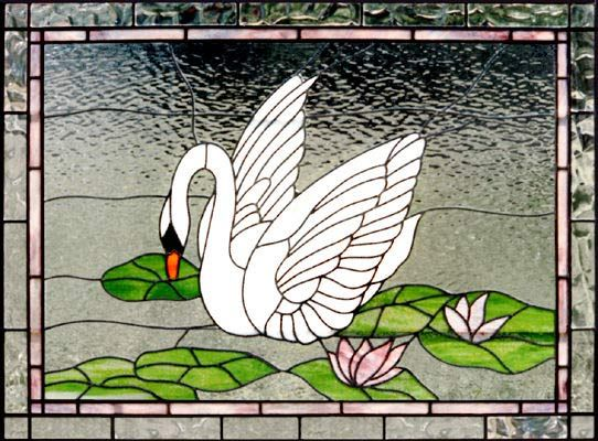 Leaded stained glass swan window by Glass by Design 979-832-8060