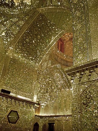 Thousands of tiny cut mirror pieces. King of Light Mausoleum, Shiraz, Iran