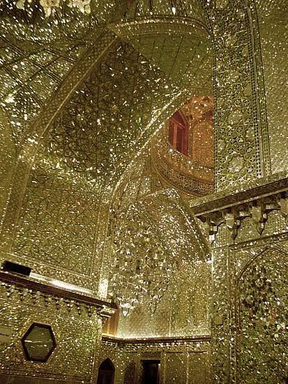 Thousands of tiny cut mirror pieces. King of Light Mausoleum, Shiraz, Iran