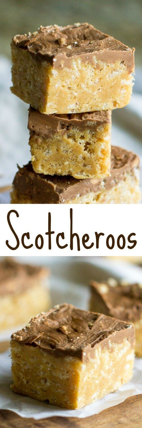 Scotcheroos are like rice krispy bars on steroids. Made with peanut butter and topped with butterscotch-chocolate frosting, prepare to be ADDICTED!