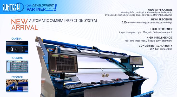 Newly launched Automated Camera Inspection System. Applicable for weaving machine, warp knitting machine, fabric inspection machine, stenter, compactor, etc. With camera online checking and the max. speed is upto 80m/min; The defects with 0.15mm size could be mapped and recorded. 5 times high efficiency compared with traditional manpower checking; 24 hours online working!!