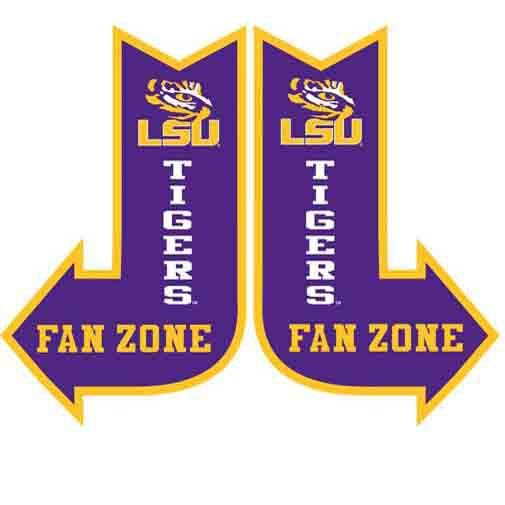 "LSU Fan Zone Sign Size: 10"" x 16"" Material: Metal Right or left arrow, priced individually - sign available will be shipped. LSU Tigers Licensed collegiate product."