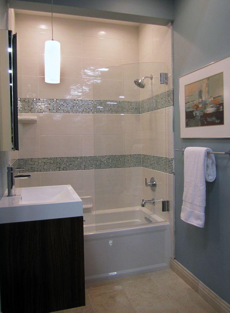 42 best images about tile trim ideas on pinterest for Glass tile bathroom ideas
