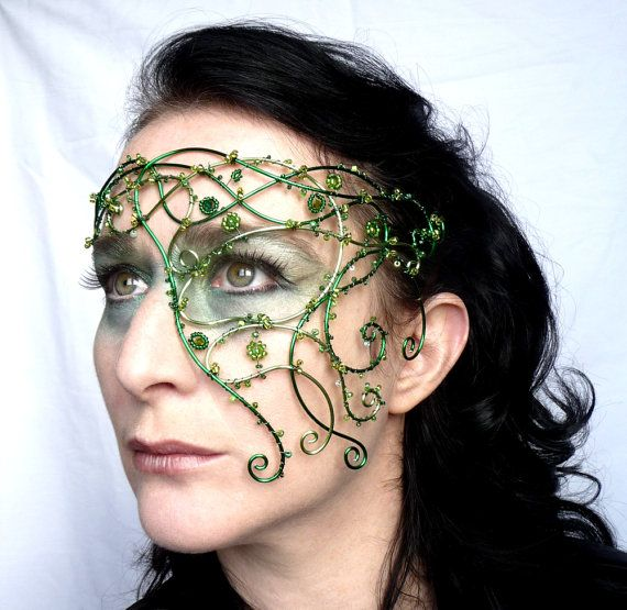 Handmade green half mask - perfect for a summer wedding or handfasting :)