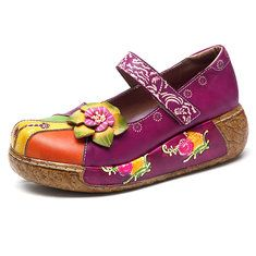 Designer SOCOFY Bohemian Splicing Flower Pattern Ankle Flat Leather Boots - NewChic Mobile