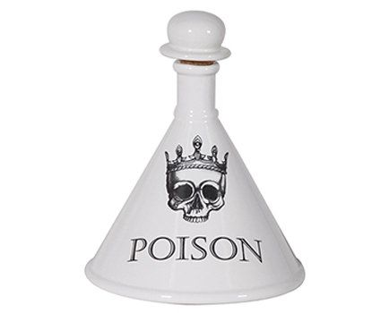 Poison bottle with cork stopper available at Browsers Furniture Co., Limerick, Ireland.