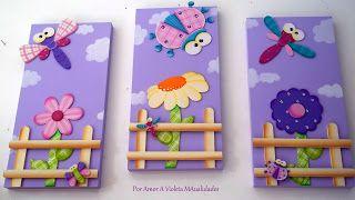 Este es un triptico para decoración de habitación infantil, son laminas de maderas sobrepuestas y pintadas al estilo country, cada una de ellas mide aproximadamente 25x 57 cm.
