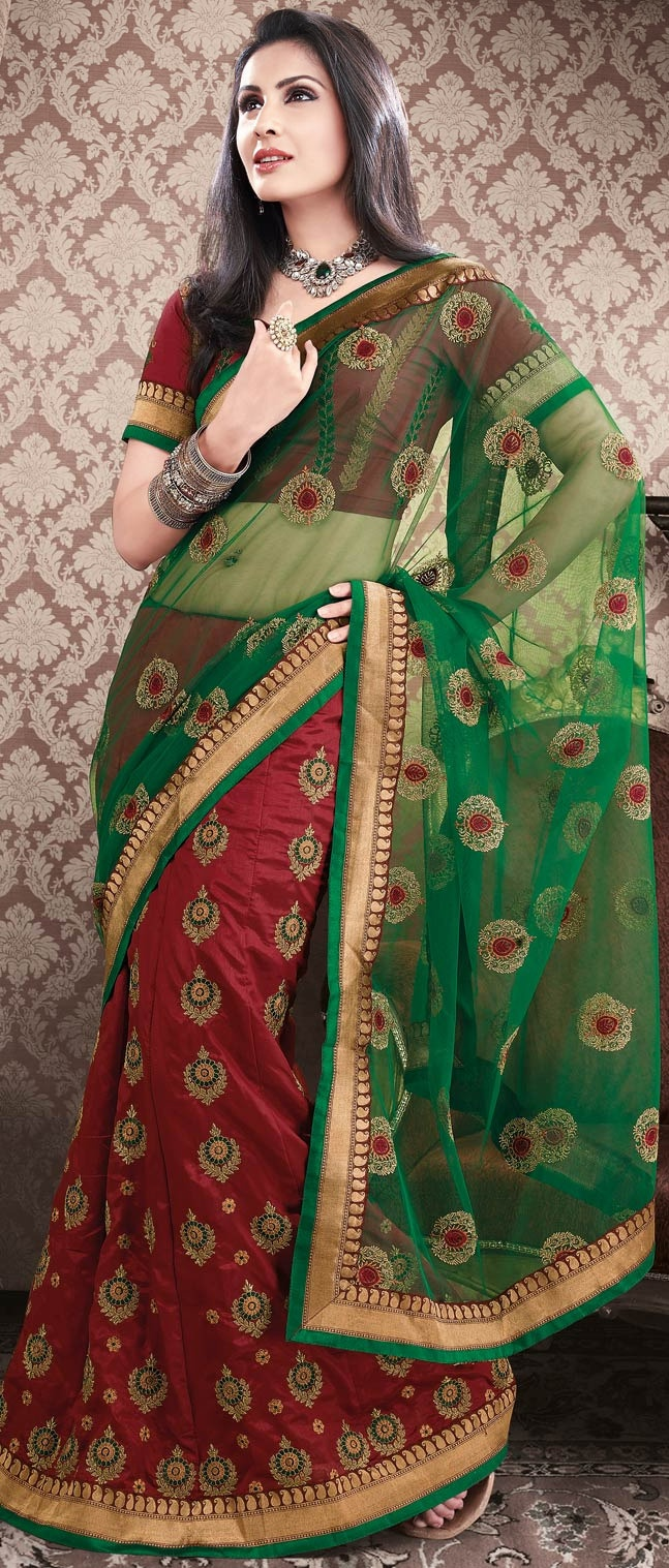 #Green and #Maroon Net #Lehenga Style #Saree With Blouse @ $96.17