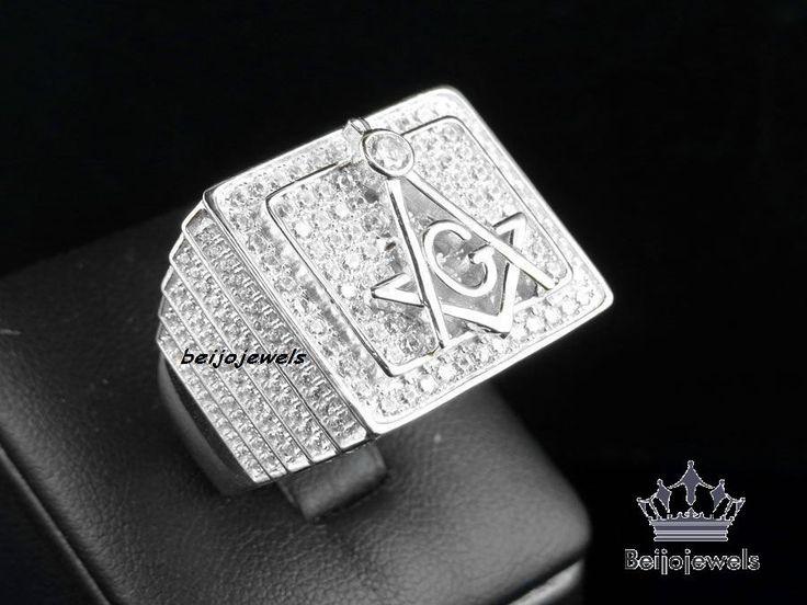 230 carat mens white gold finish diamond engagement wedding pinky band ring