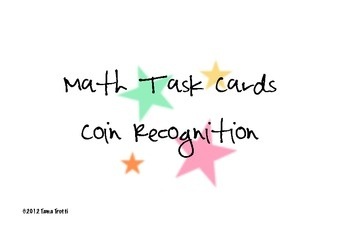 This is a set of 20 coin recognition task cards to help with learning coins. Note: these are in British currency....