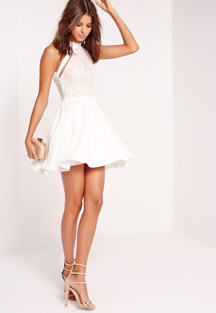 Missguided - Mesh Stripe Lace Top Skater Dress White